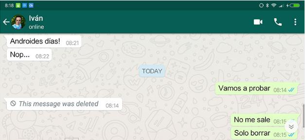 Como borrar mensajes de Wthasaap